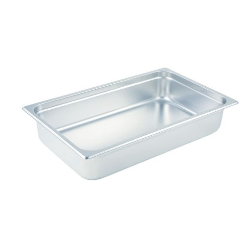 Winco SPJL-104, 4-Inch Deep, Full-Size Anti-Jamming Steam Table Pan, 25 Gauge, NSF