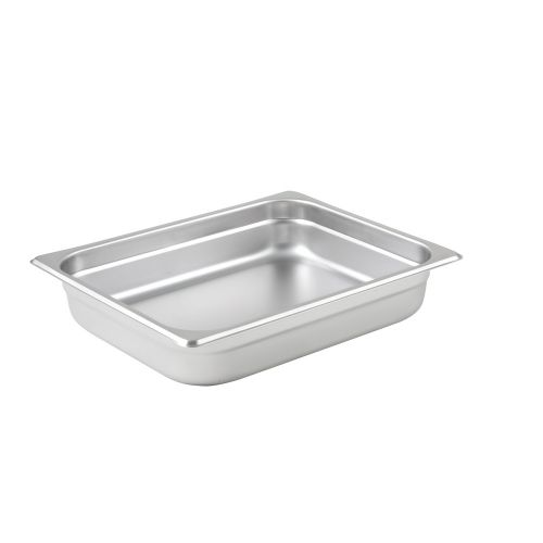 Winco SPJL-202, 2.5-Inch Deep, Half-Size Anti-Jamming Steam Table Pan, 25 Gauge, NSF