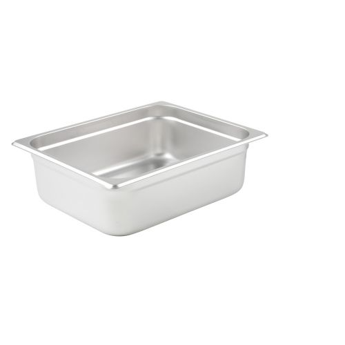 Winco SPJL-204, 4-Inch Deep, Half-Size Anti-Jamming Steam Table Pan, 25 Gauge, NSF