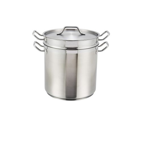 Winco SSDB-12, 12-Quart 9.3-Inch High 10.2-Inch Diameter Stainless Steel Double Boiler with Cover, NSF