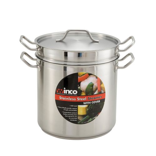Winco SSDB-20S, 20-Quart Stainless Steel Master Cook Steamer & Pasta Cooker with Cover, 10.6, 11.4-Inch High, 11.8-Inch Diameter, NSF