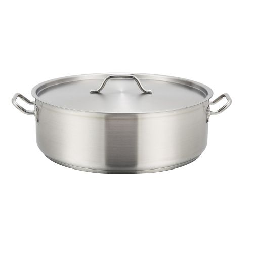 Winco SSLB-15, 15-Quart 5.5-Inch High 14.2–Inch Diameter Stainless Steel Brazier Pan with Lid, NSF