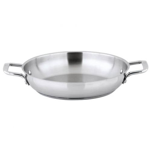Winco SSOP-11, 11-Inch Dia Try-Ply Stainless Steel Omelet Pan w/о Lid, 2 Handles, NSF