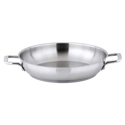 Winco SSOP-12, 12-1/2-Inch Dia Try-Ply Stainless Steel Omelet Pan w/о Lid, 2 Handles, NSF