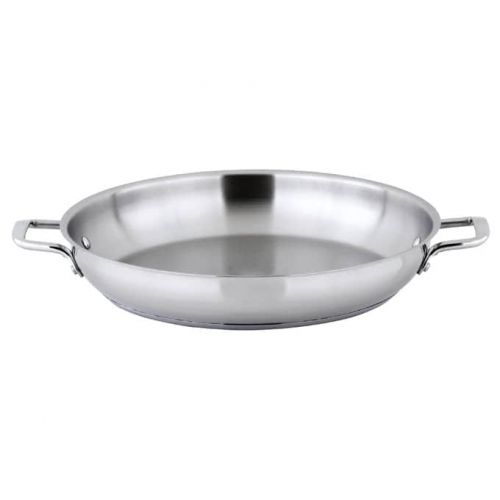 Winco SSOP-14, 14-Inch Dia Try-Ply Stainless Steel Omelet Pan w/о Lid, 2 Handles, NSF