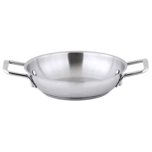 Winco SSOP-8, 8-Inch Dia Try-Ply Stainless Steel Omelet Pan w/о Lid, 2 Handles, NSF (discontinued)