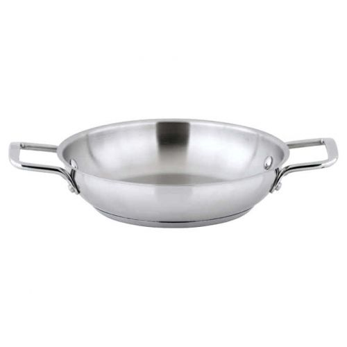 Winco SSOP-9, 9-1/2-Inch Dia Try-Ply Stainless Steel Omelet Pan w/о Lid, 2 Handles, NSF