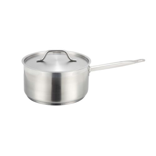 Winco SSSP-2, 2-Quart 3.75-Inch High 6.25-Inch Diameter Stainless Steel Stock Pot With Cover, NSF