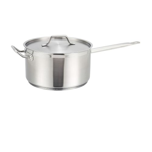 Winco SSSP-7, 7.5-Quart 6.12-Inch High 9.5-Inch Diameter Stainless Steel Pan with Cover Helper Handle, NSF