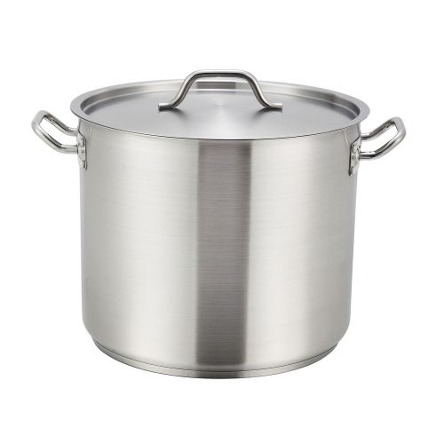 Winco SST-20, 20-Quart 10.25-Inch High 11.9-Inch Diameter Stainless Steel Stock Pot With Cover, NSF