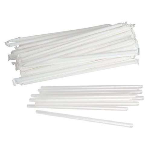 STR 7.75-Inch Wrapped Jumbo Straws Clear, 500/PK