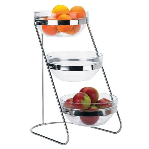 Winco TDS-3, 3-Tiered 18-8 Stainless Steel Display Server Stand Set with Glass Containers