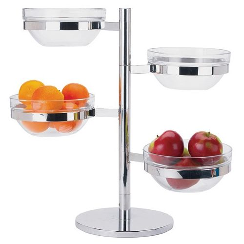 Winco TDSF-4, 4-Tiered 18-8 Stainless Steel Display Server Folding Stand Set with Glass Containers