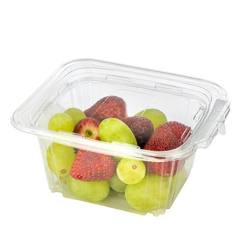 SafePro TE48 48 Oz Tamper Evident Clear Plastic Container with Hinged Lid, 150/CS