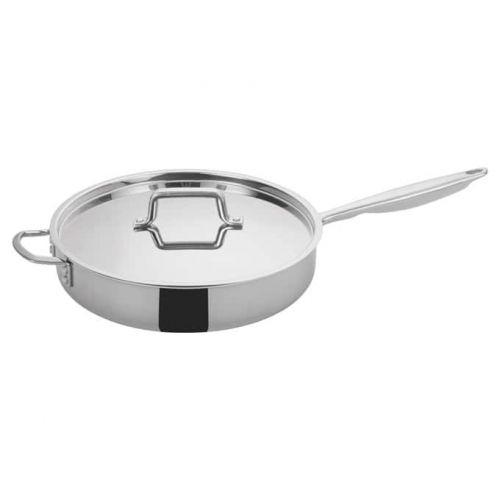 Winco TGET-6, 6-Quart Tri-Ply Stainless Steel Saute Pan w/Lid, Helper Handle, NSF