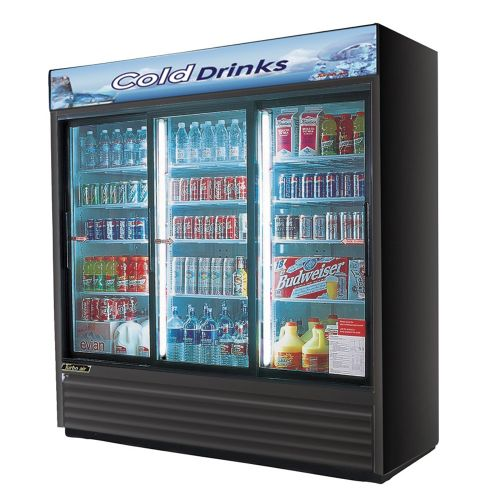 Turbo Air TGM-69RB-N Refrigerator 3 Doors Sliding Glass Merchandiser, Black Cabinet