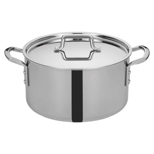 Winco TGSP-12, 12-Quart Tri-Ply Stainless Steel Stock Pot w/Lid, NSF