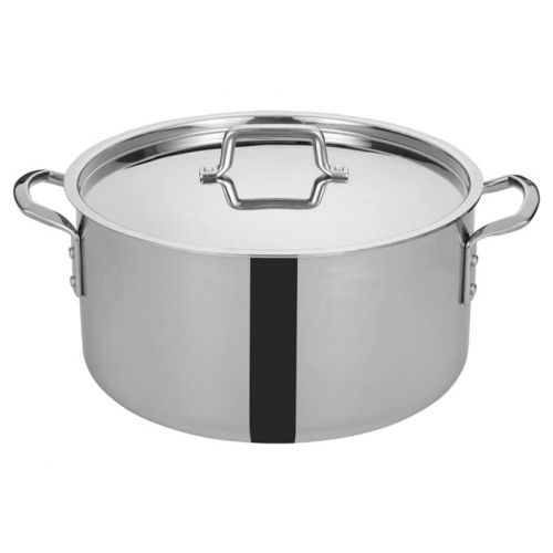Winco TGSP-20, 20-Quart Tri-Ply Stainless Steel Stock Pot w/Lid, NSF
