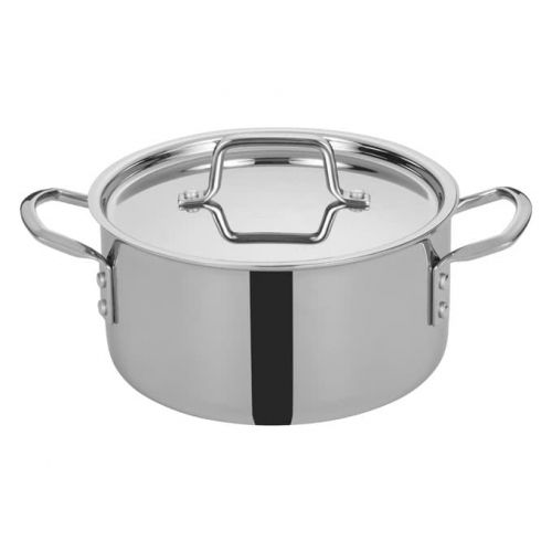 Winco TGSP-4, 4.5-Quart Tri-Ply Stainless Steel Stock Pot w/Lid, NSF