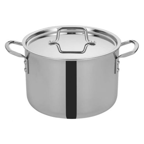 Winco TGSP-8, 8-Quart Tri-Ply Stainless Steel Stock Pot w/Lid, NSF