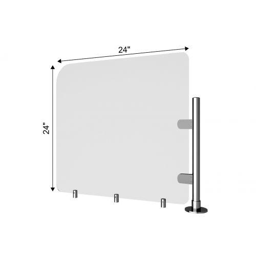TRNGRD-P1 24x24-Inch Acrylic Protective Side Guard, Pole w/Standoffs