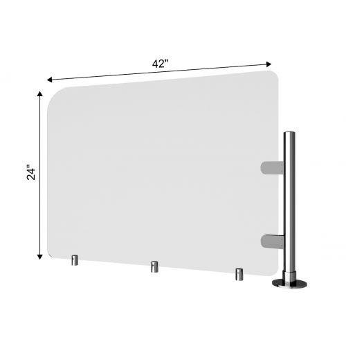 TRNGRD-P3 42x24-Inch Acrylic Protective Side Guard, Pole w/Standoffs