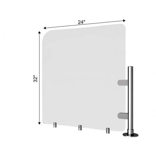 TRNGRD-P5 24x32-Inch Acrylic Protective Side Guard, Pole w/Standoffs