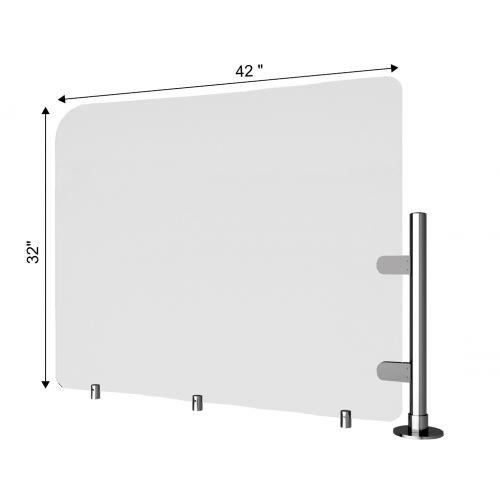 TRNGRD-P7 42x32-Inch Acrylic Protective Side Guard, Pole w/Standoffs
