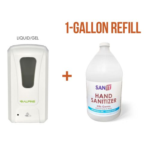 Set: One Automatic Liquid/Gel Sanitizer Dispenser and One 1-Gallon Gel Hand Sanitizer 70% Isopropyl Alcohol