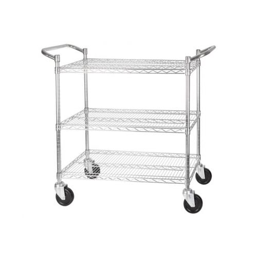 Winco VCCD-2448B, 24х48-Inch Wire Shelving Cart, Chrome Plated, 3 Tiers