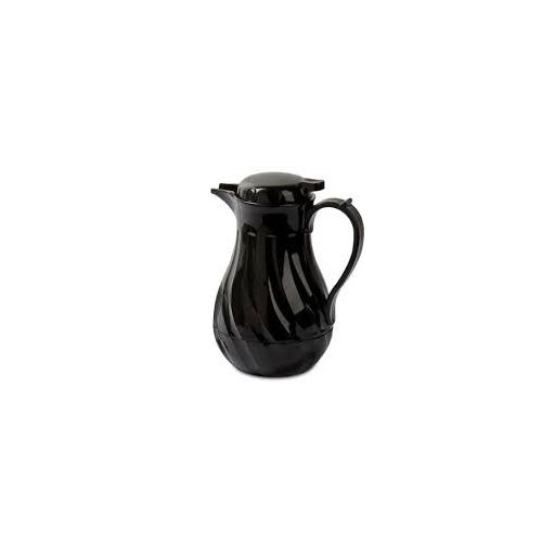 Black 42-Ounce Winco Push Button Insulated Beverage Server with Swirl Design