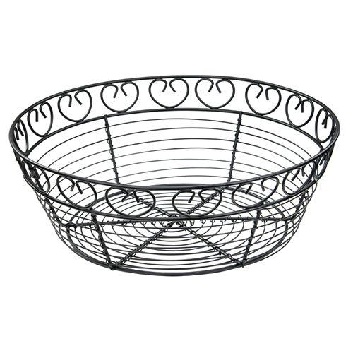 Winco WBKG-10R, 10-Inch Black Round Metal Wire Bread and Fruit Basket