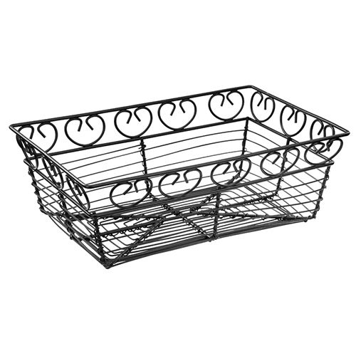 Winco WBKG-9, Black Rectangular Metal Wire Bread and Fruit Basket