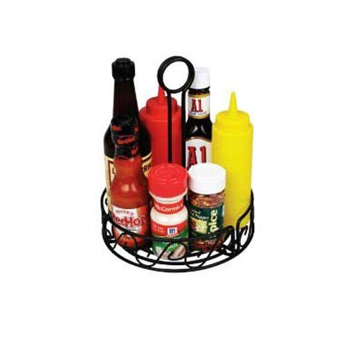 Winco WBKH-7R, Black Round Wire Tabletop Condiment Rack