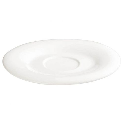 Winco WDP004-215, 6-1/4 x 5-1/2-Inch Ardesia Ocea Porcelain Oval Saucer, Creamy White, 36/CS