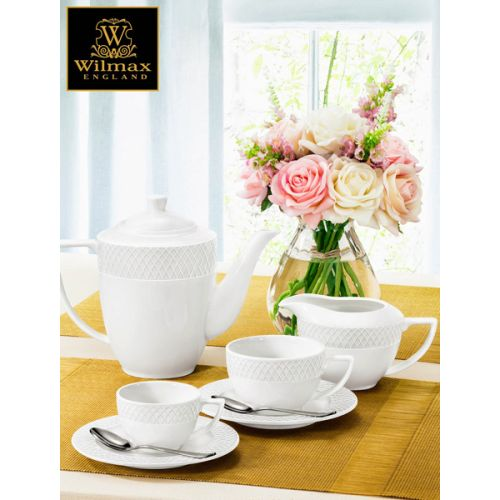 Wilmax WL-880106-X, 6 oz. Julia Collection White Porcelain Cappuccino Cups & Saucers, 6 Set/CS