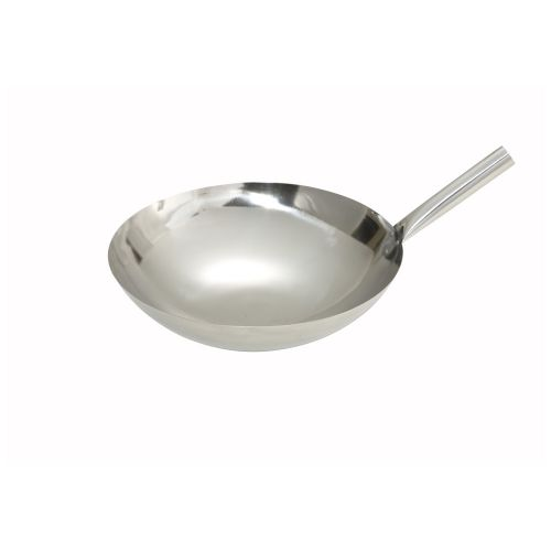 Winco WOK-14N, 14-Inch Stainless Steel Wok Nailed Joint