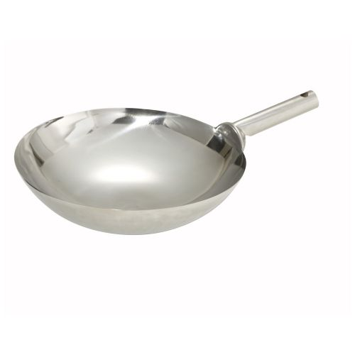 Winco WOK-14W, 14-Inch Mirror Finish Stainless Steel Chinese Wok with Welded Joint