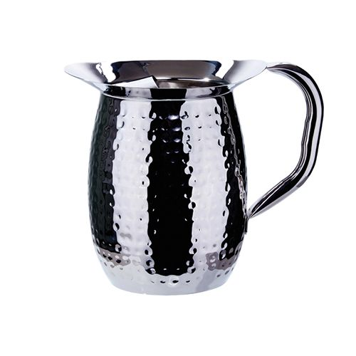 Winco WPB-3CH, 3-Quart Stainless Steel Bell Pitcher with Ice Guard, Hammered