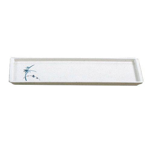 Thunder Group 0900BB 13 1/2 x 4 1/2 Inch Asian Blue Bamboo Melamine Rectangular White Sandwich Tray, DZ