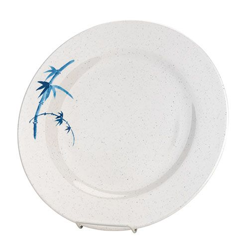 Thunder Group 1014BB 14 1/8 Inch Asian Blue Bamboo Melamine Round White Plate, DZ