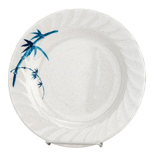Thunder Group 1209BB 9 1/4 Inch Asian Blue Bamboo Melamine Round Curved Rim White Plate, DZ