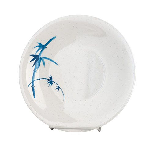 Thunder Group 1304BB 4 3/4 Inch Asian Blue Bamboo Melamine Round White Dinner Plate, DZ