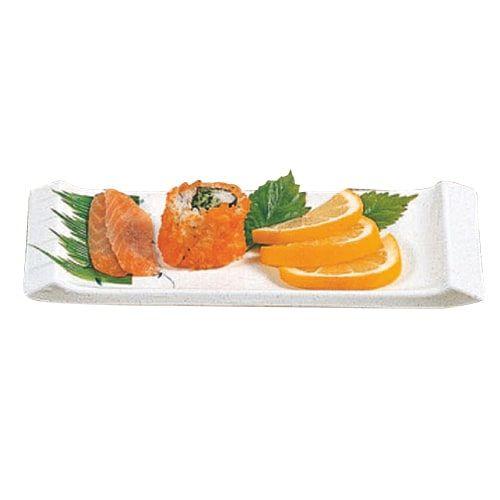 Thunder Group 1501BB 8 1/2 x 3 3/4 Inch Asian Blue Bamboo Melamine Rectangular White Vegetable Serving Plate, DZ