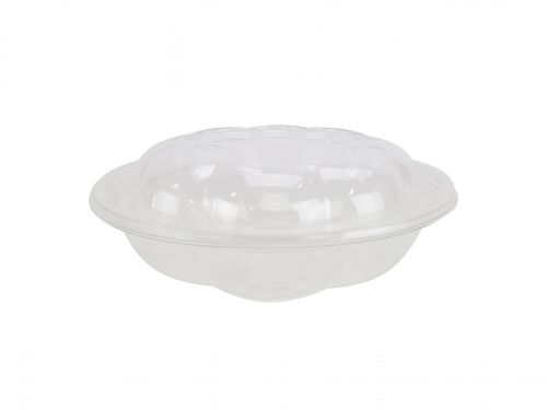 SafePro 18SW150, 18 Oz. Crystal Clear PET Swirl Bowl with Swirl Lid Combo, 150/CS