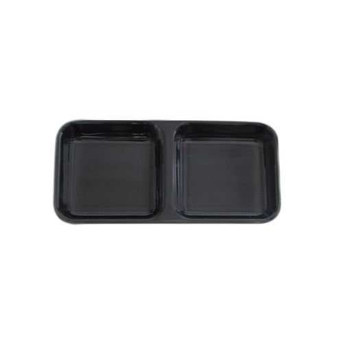 Thunder Group 19002BK 4 Oz 6 x 3 Inch Western Classic Black Melamine Rectangular Twin Sauce Dish, DZ