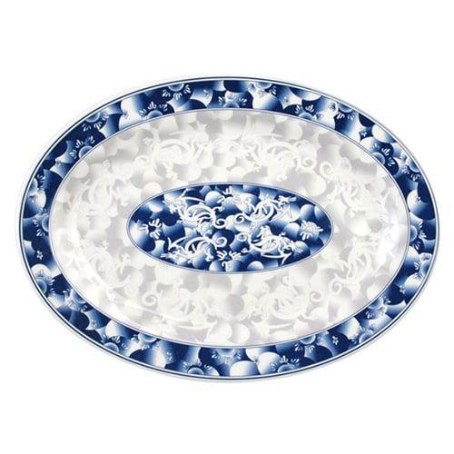Thunder Group 2009DL 9 x 6 5/8 Inch Asian Blue Dragon Melamine Rectangular Platter, DZ