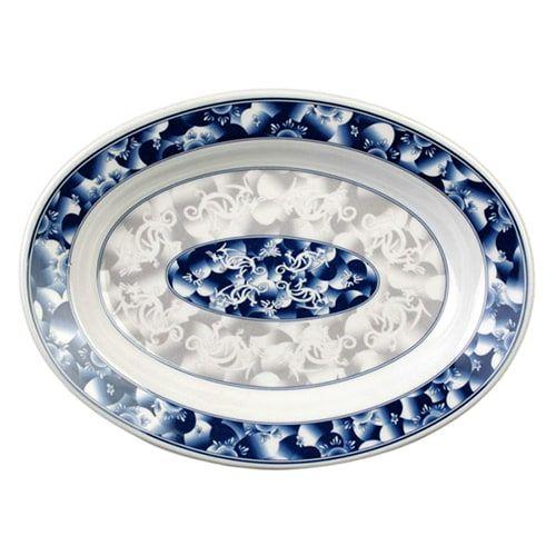 Thunder Group 2110DL 9 Oz 10 x 7 1/2 Inch Asian Blue Dragon Melamine Rectangular Deep Platter, DZ