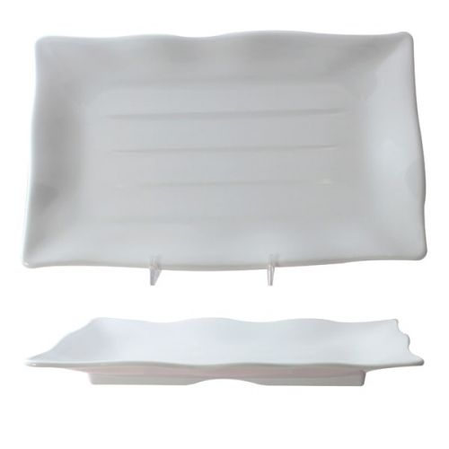 Thunder Group 24120WT 11 1/4 x 7 1/4 Inch Western Classic White Melamine Rectangular Wave Plate, DZ