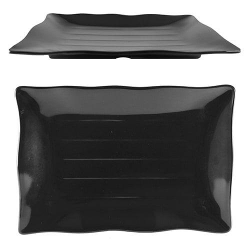 Thunder Group 24140BK 13 1/2 x 9 1/8 Inch Western Classic Black Melamine Rectangular Wave Plate, DZ